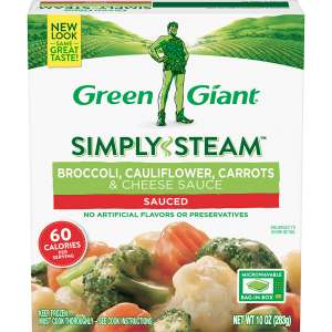 Green Giant® Simply Steam™ Broccoli, Cauliflower, Carrots & Cheese Sauce product