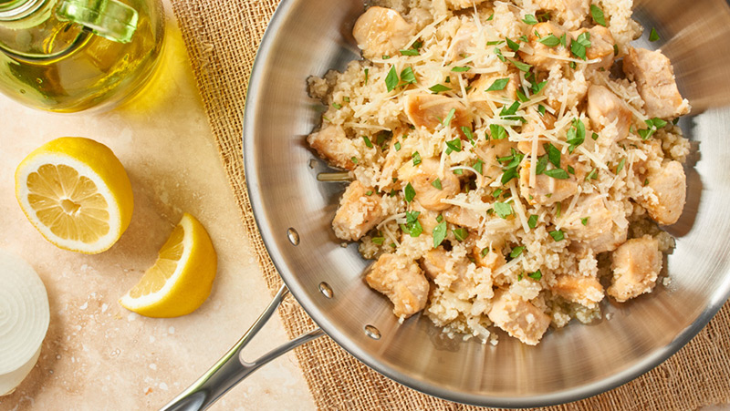 Easy Skillet Chicken & Riced Cauliflower
