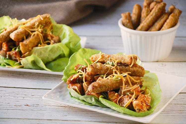 Barbecue Chicken and Veggie Fries Lettuce Wraps